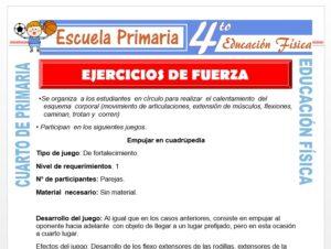 Modelo de la Ficha de Ejercicios de Fuerza para Cuarto de Primaria