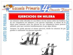 Modelo de la Ficha de Ejercicios en Hilera para Cuarto de Primaria