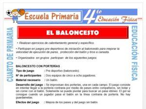 Modelo de la Ficha de El Baloncesto para Cuarto de Primaria