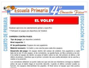 Modelo de la Ficha de El Vóley para Cuarto de Primaria