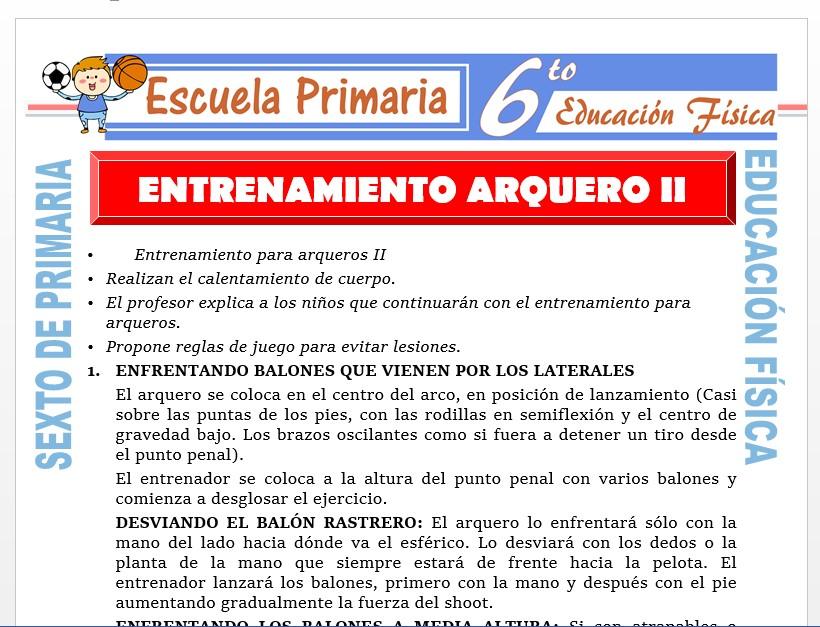 Modelo de la Ficha de Entrenamiento del arquero II para Sexto de Primaria