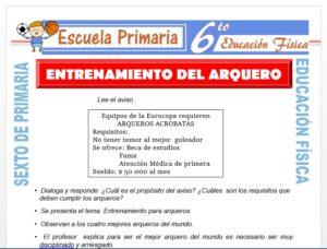 Modelo de la Ficha de Entrenamiento del arquero para Sexto de Primaria