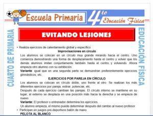 Modelo de la Ficha de Evitando Lesiones para Cuarto de Primaria