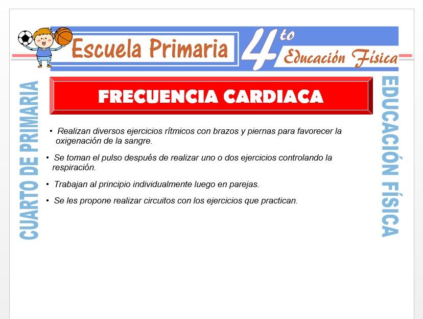 Modelo de la Ficha de Frecuencia Cardiaca para Cuarto de Primaria
