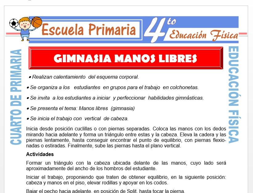 Modelo de la Ficha de Gimnasia Manos Libres para Cuarto de Primaria
