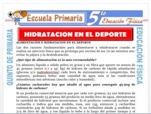 Modelo de la Ficha de Hidratación en el Deporte para Quinto de Primaria