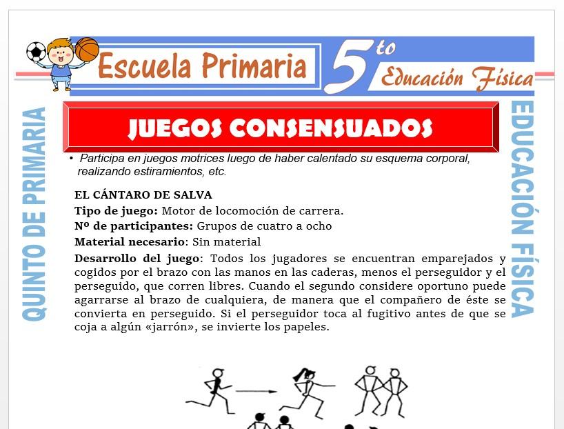 Modelo de la Ficha de Juegos Consensuados para Quinto de Primaria