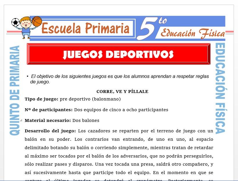 Modelo de la Ficha de Juegos Deportivos para Quinto de Primaria