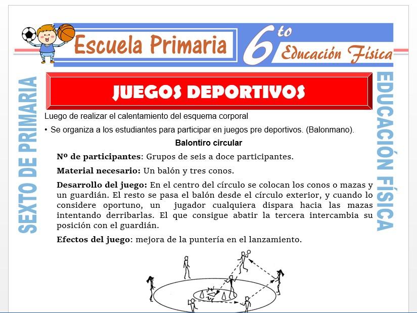 Modelo de la Ficha de Juegos Deportivos para Sexto de Primaria