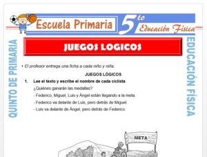 Modelo de la Ficha de Juegos Lógicos para Quinto de Primaria
