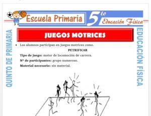 Modelo de la Ficha de Juegos Motrices para Quinto de Primaria