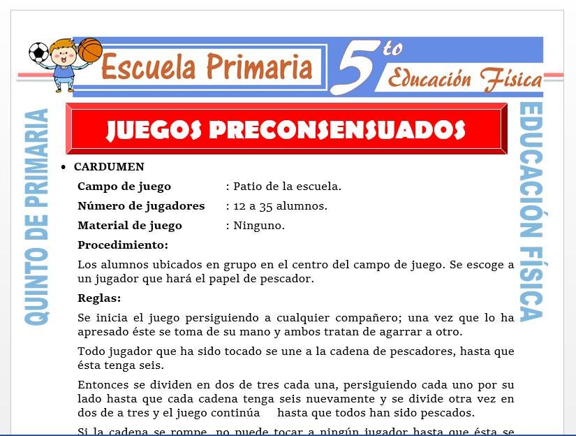 Modelo de la Ficha de Juegos Pre Consensuados para Quinto de Primaria