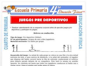 Modelo de la Ficha de Juegos Pre deportivos para Cuarto de Primaria