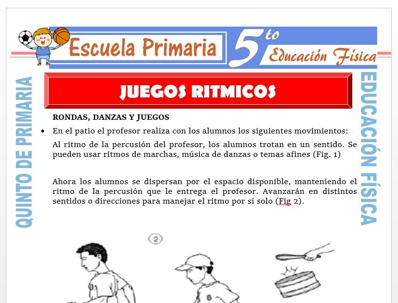 Modelo de la Ficha de Juegos Rítmicos para Quinto de Primaria