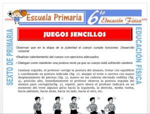 Modelo de la Ficha de Juegos Sencillos para Sexto de Primaria