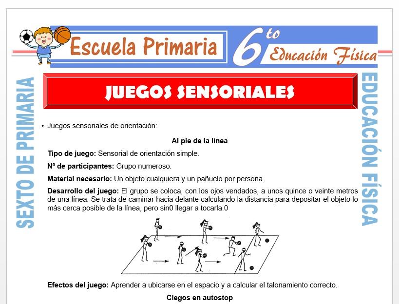 Modelo de la Ficha de Juegos Sensoriales para Sexto de Primaria