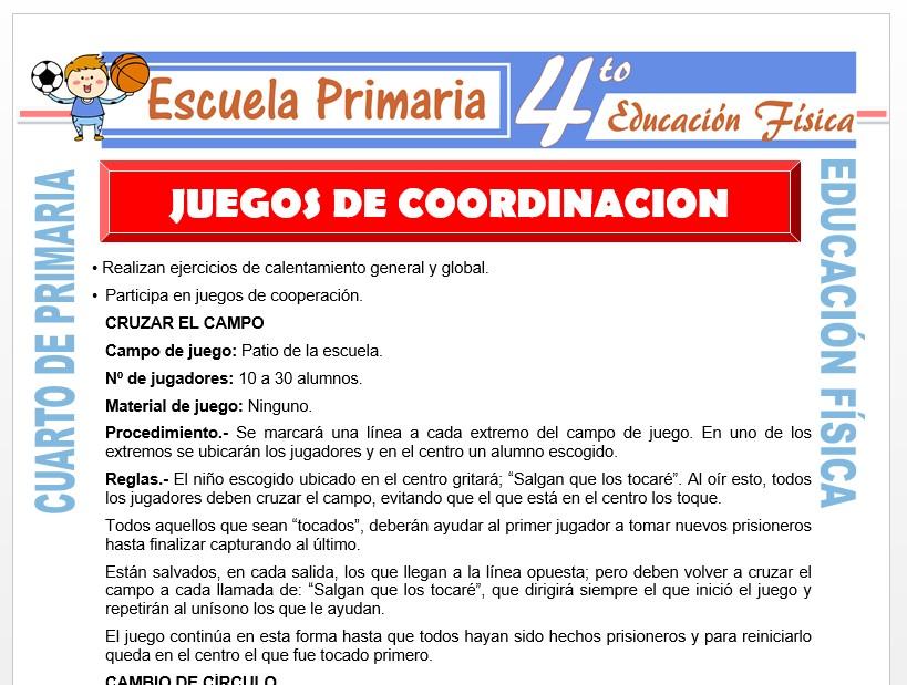 Modelo de la Ficha de Juegos de Cooperación para Cuarto de Primaria