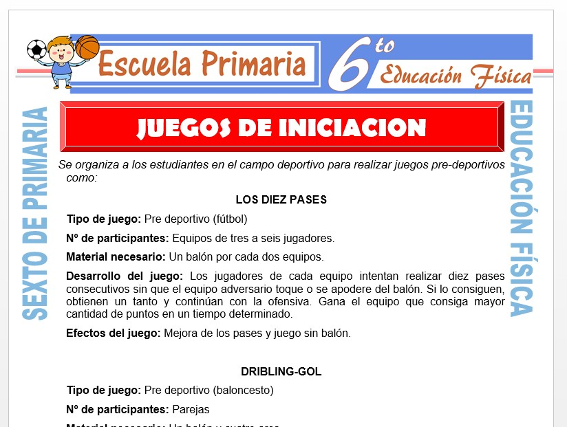Modelo de la Ficha de Juegos de iniciación para Sexto de Primaria