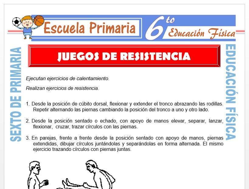 Modelo de la Ficha de Juegos de Resistencia para Sexto de Primaria