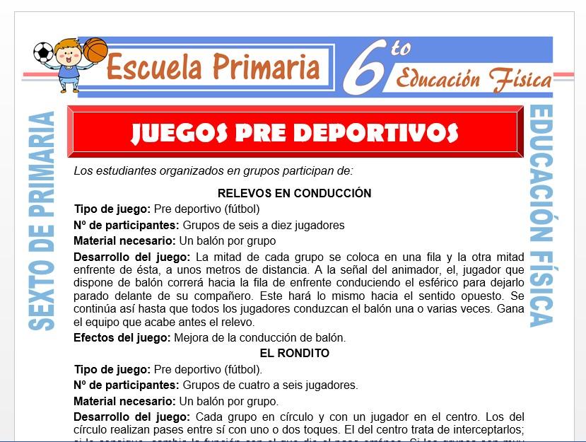 Modelo de la Ficha de Los Juegos Pre Deportivos para Sexto de Primaria