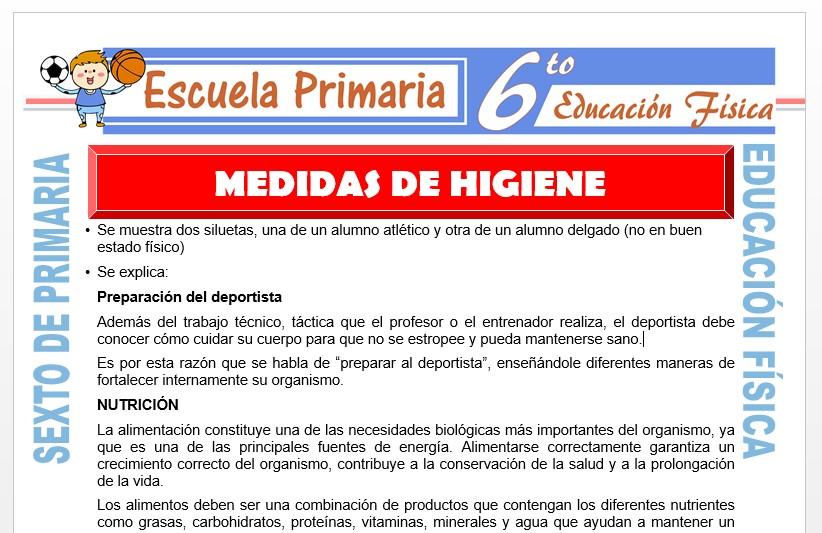 Modelo de la Ficha de Medidas de Higiene para Sexto de Primaria