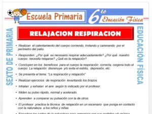 Modelo de la Ficha de Relajación Respiración para Sexto de Primaria