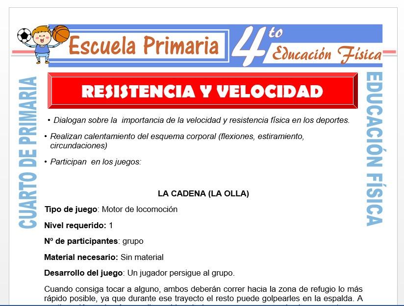 Modelo de la Ficha de Resistencia y Velocidad para Cuarto de Primaria