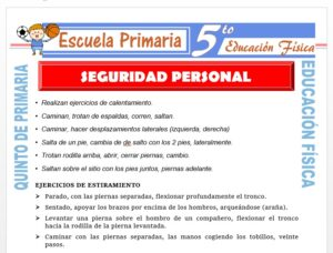 Modelo de la Ficha de Seguridad Personal para Quinto de Primaria