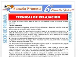 Modelo de la Ficha de Técnicas de Relajación para Sexto de Primaria