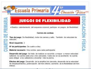 Modelo de la Ficha de Juegos de Flexibilidad para Cuarto de Primaria
