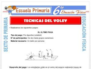 Modelo de la Ficha de Técnicas del Vóley para Sexto de Primaria